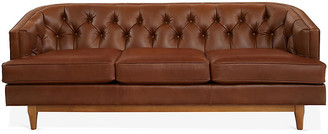 One Kings Lane Emma Chesterfield Sofa - Cinnamon Leather - frame, French oak; upholstery, cinnamon