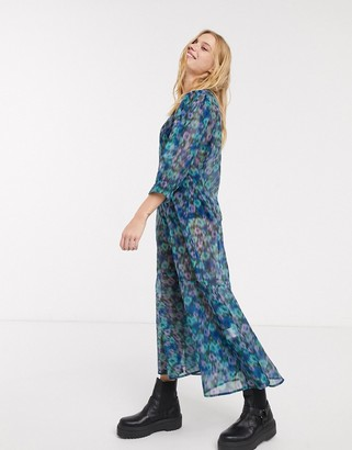 Weekday Vanessa floral print organza puff sleeve midi dress in multi
