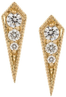 Lizzie Mandler Fine Jewelry 18kt gold 'Kite' diamond stud earrings