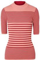 Acne Studios Winnie Striped Ribbed Cotton-blend Sweater - Brick