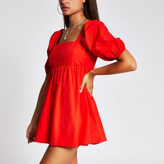 River Island Red short puff sleeve smock playsuit