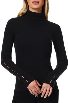 Ramy Brook Rachel Slit-Sleeve Ribbed Turtleneck Sweater