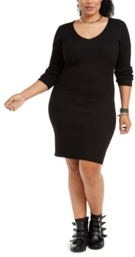 Planet Gold Trendy Plus Size Lace-Up-Back Bodycon Dress