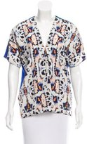 Sachin + Babi Leather-Trimmed Abstract Print Top