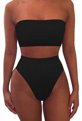 Viottiset Womens Strapless Bandeau Bikini Set Swimsuit High Waisted Cheeky Swimwear S Blue