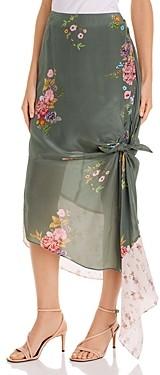 Preen Line Alina Knot Detail Floral Print Midi Skirt