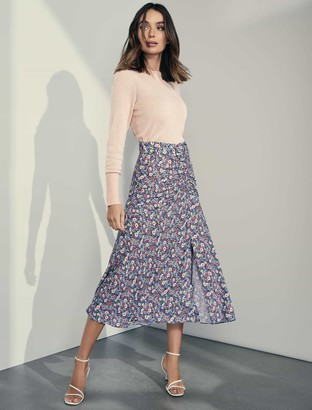 Ever New Zalie Ruched Belted Midi Skirt