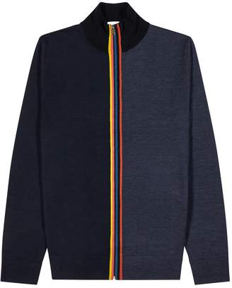 Paul Smith Navy Knitted Merino Wool Jacket