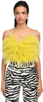 ATTICO Strapless Feather Top