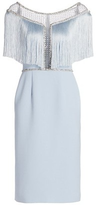Jenny Packham Jolene Crepe Crystal Illusion Fringe Dress