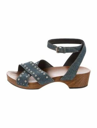 Saint Laurent Denim Studded Sandals blue