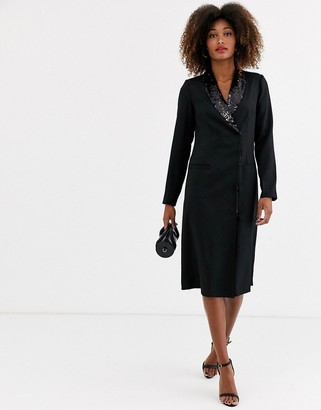UNIQUE21 long sleeve sequin lapel tailored blazer dress-Black