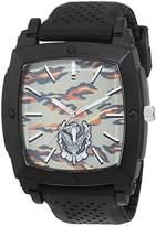 Trias Men's Quartz Watch with Black Dial Analogue Display Quartz Rubber Door 43