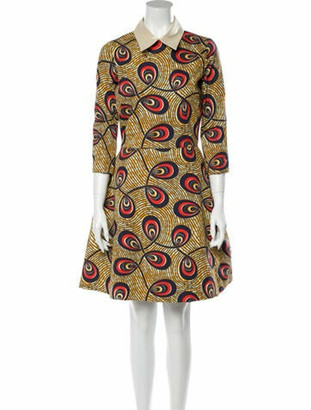 Stella Jean Printed Knee-Length Dress w/ Tags Yellow