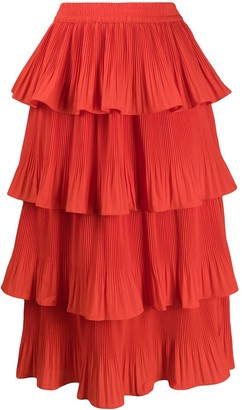 Essentiel Antwerp Vivian tiered midi skirt