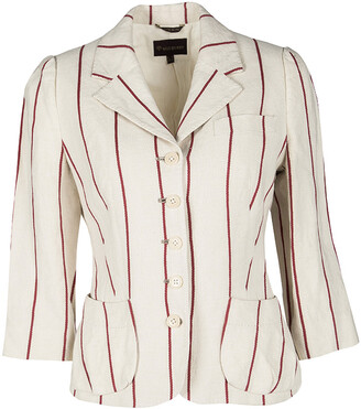 Mulberry Cream and Red Striped Linen Blazer M