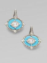 Judith Ripka White Sapphire, Turquoise & Sterling Silver Earrings