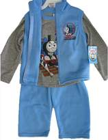 Thomas & Friends Little Boys Gray Blue Train Print Vest Shirt 3 Pc Pants Set 24M