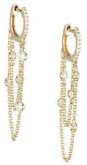 Nina Gilin 14K Yellow Gold & Diamond Chain Drop Huggie Hoop Earrings