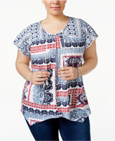 Style&Co. Style & Co Plus Size Printed Top, Only at Macy's