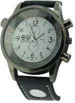 Crosshatch Men's Quartz Watch with White Dial Analogue Display and Black PU Strap CRS09/A