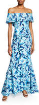 Badgley Mischka Printed Off-the-Shoulder Tiered Ruffle Mermaid Gown