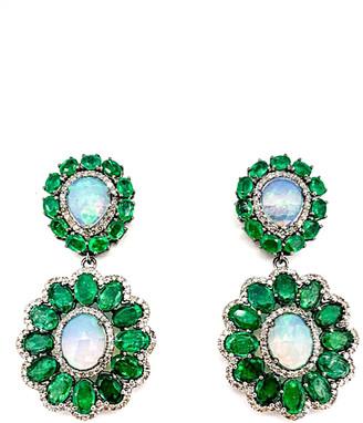 Arthur Marder Fine Jewelry 14K & Silver 9.25 Ct. Tw. Diamond, Opal & Emerald Earrings
