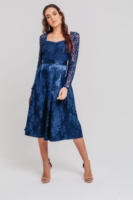 Pretty Darling Navy Sweetheart Lace Fit And Flare Midi Dress