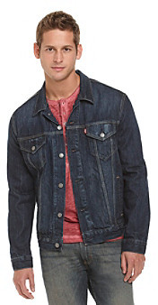 Levi's Levis Men's Dark Blue Relaxed Trucker Gridlock Denim Jacket