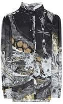 Roberto Cavalli Ruffled floral-printed silk blouse