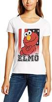 Sesame Street Women's Stars & Stripes Elmo Plain Short Sleeve T-Shirt