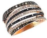 Effy Women's Black, Brown And White Diamond 14K Rose Gold Ring, 1.08 TCW