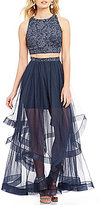 Jodi Kristopher High Neck Chemical Lace Top Two-Piece Layered Skirt Long Dress