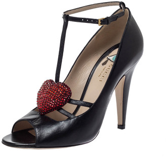 Gucci Black Leather Molina Crystal Heart T-Strap Pumps Size 39