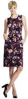 Lands' End Women's Tall Sleeveless Ponté Sheath Dress-Bright Eggplant Floral