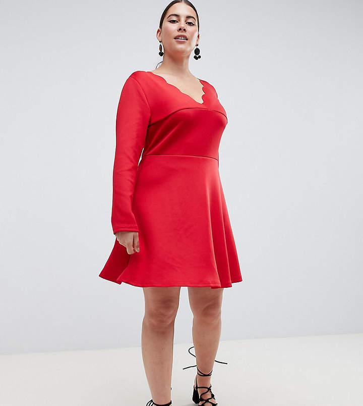 Plus Plus scalloped edge swing dress