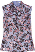 Erdem Fineena Twist-front Metallic Brocade Top - Lilac