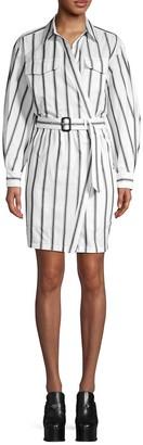 Asymmetric Striped Belted Shirtdress