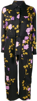 MSGM Rose-Print Long-Sleeved Boiler Suit