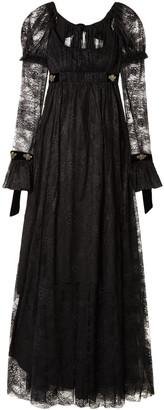 Philosophy di Lorenzo Serafini Tie-back Velvet-trimmed Lace Gown
