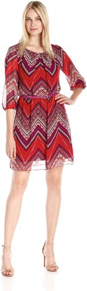 Amy Byer Women's Pleated Neck Printed Aline Dress