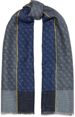 Stella McCartney Frayed Monogram-print Wool And Silk-blend Scarf