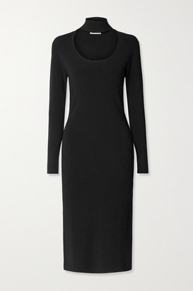 Ninety Percent Cutout Stretch-knit Turtleneck Midi Dress - Black