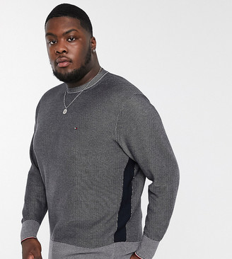 Tommy Hilfiger Big & Tall two tone knit jumper in navy
