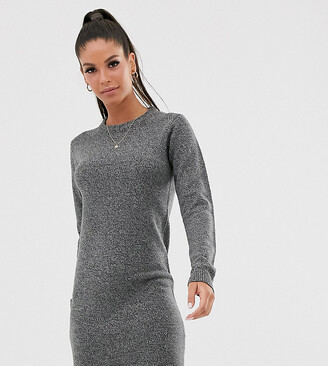 Brave Soul Tall grungy round neck jumper dress-Grey
