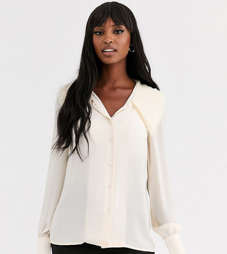 Y.A.S Tall Arilla long sleeve large collar blouse-White