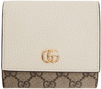 Gucci Beige and Off-White Small GG Supreme Marmont Flap Wallet