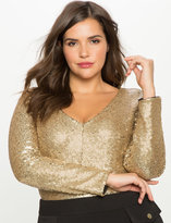 ELOQUII Plus Size Studio V-Neck Sequin Bodysuit