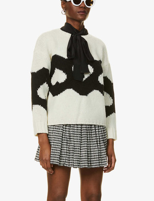 RED Valentino Graphic-pattern dropped-shoulder wool jumper