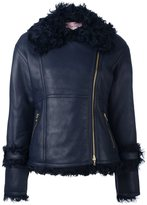 Lanvin leather fur trim jacket